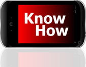 Smart phone with know how word — Stock Photo