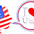 Stock Photo: USA flag man with speech bubbles - i love usa