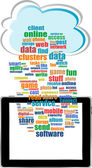 Communicator with social network word cloud with tablet pc — Stock Photo