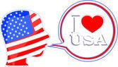 USA flag man with speech bubbles - i love usa — Stock Photo