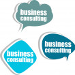 Stock Photo: Business consulting. Set of stickers, labels, tags. Template for infographics