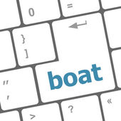 Boat button on computer pc keyboard key — Stock Photo