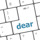 Dear button on computer pc keyboard key — Stock Photo