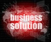Solución de negocio de palabras en la pantalla digital, concepto de negocio — Foto de Stock