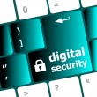 Safety concept: computer keyboard with digital security icon on enter button background — Stock Photo #41459421