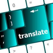 Multilingual translation on-line concept. Close up of multi language keyboard and translate word key — Stock Photo