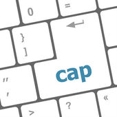 Cap key on computer keyboard button — Stock Photo