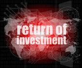 Iş kavramı: kelime üzerinde dijital arka plan yatırım dönmek — Stok fotoğraf