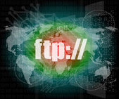 Ftp word on digital screen, global communication concept — Stock Photo