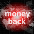 Words money back on digital screen, business concept — Stock Photo