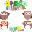 Sweet owls and flowers mosaic — Foto de Stock