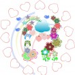 Background with owls family in flowers and love hearts — 图库照片