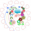 Background with owls family in flowers and love hearts — ストック写真
