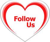Marketing concept, follow us word on love heart — Stock Photo