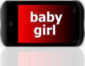 Digital smartphone with baby girl words, social concept — Stock Photo