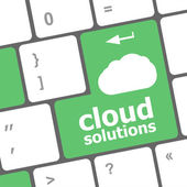 Cloud solution words concept on button of the keyboard — Foto de Stock
