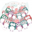 Owls, birds, flowers, cloud and love heart — 图库照片