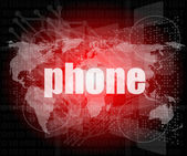Phone word on digital touch screen, business concept — Stock Photo