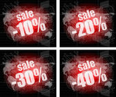 Set of sale percentage words on business digital touch screen — Stock Photo