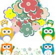 Owls, birds, flowers, cloud and love heart — Stock Photo #41885881