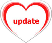 Internet concept, update word on love heart — Stock Photo
