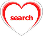 Internet concept, search word on love heart — Stock Photo