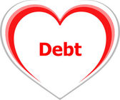 Marketing concept, debt word on love heart — Stock Photo