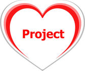 Marketing concept, project word on love heart — Stock Photo