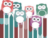 Set of owls with different expressions — Stock Photo