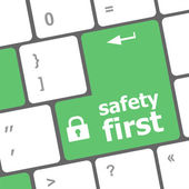 Safety first, close up view on conceptual keyboard, Security key — Foto Stock