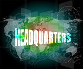Headquarters words on digital screen background with world map — Stock Photo