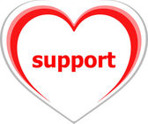 Internet concept, support word on love heart — Stock Photo
