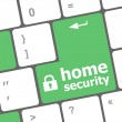 Safety concept: computer keyboard with Home security icon on enter button background — Stock Photo