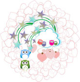 Background with couple of owls and love hearts — Foto de Stock