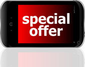 Digital smartphone with special offer words, business concept — Stock Photo