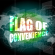Stock Photo: Flag of convenience word on digital touch screen