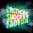 Stock Photo: Critical success factor words on digital screen with world map