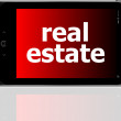 Digital smartphone with real estate words, business concept — Stock Photo