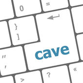 Cave key on computer keyboard button — Stock Photo