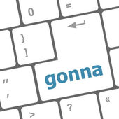 Gonna word on keyboard key, notebook computer button — Foto Stock