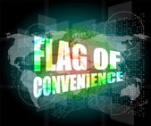 Flag of convenience word on digital touch screen — Foto de Stock
