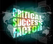 Critical success factor words on digital screen with world map — Stock Photo
