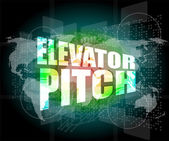 Elevator pitch words on touch screen interface — Stock Photo