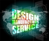 Design manufacture service words on digital binary touch screen — Stock Photo