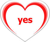 Marketing concept, yes word on love heart — Stock Photo
