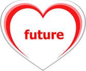 Marketing concept, future word on love heart — Stock Photo