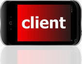 Client word on smart mobile phone, business concept — Stock Photo