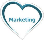 Marketing concept, marketing word on love heart — Stock Photo