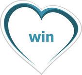 Marketing concept, win word on love heart — Stock Photo