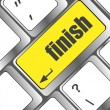 Finish button on black internet computer keyboard — Stock Photo